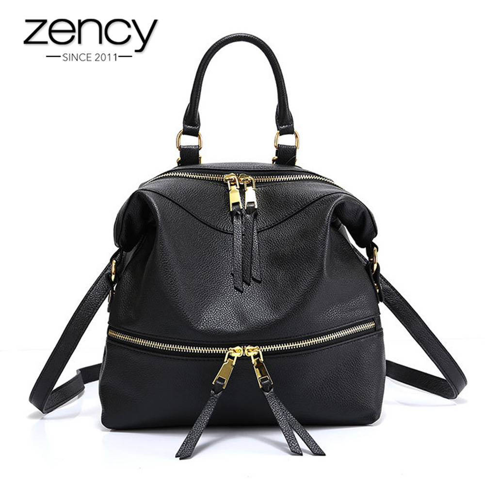 Zency Famous Brand 100% Genuine Leather Backpack Women Fashion Travel Bags Preppy Style Schoolbags High Quality Knapsack
