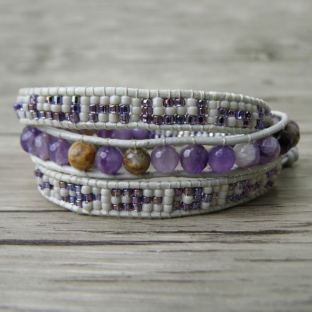 Seed Bead Bracelet Purple Beads Boho Wrap Gypsy Jewelry Yoga Bohemian Christmas