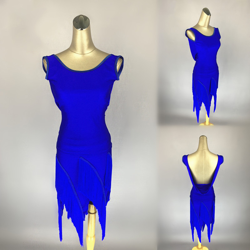Latin Dance Dress Royal Blue Sleeveless Open Back Tassel Dresses Sexy Women Tango Salsa Samba Carnival Costumes Dancewear DN2334