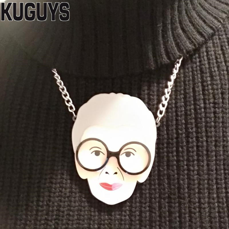 KUGUYS Trendy Gril s Jewelry Grandmother Head Portrait Pendant Necklace for  Women Necklace Sweater Chain Fashion Accessories f9c6e6d31ca1