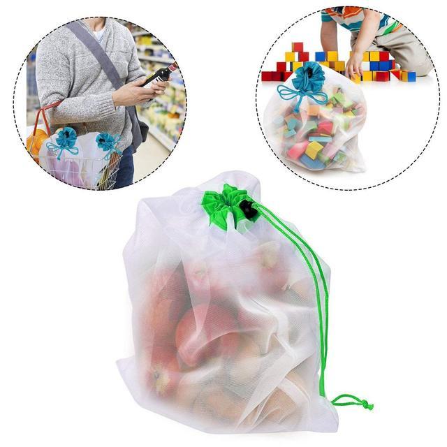 DCOS 5PCS/Set Polyester Washable Reusable Produce Bags, Eco-friendly Soft Premium Lightweight Vegetable Drawstring Storage Net 4