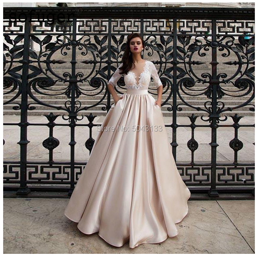 Elegant Satin Wedding Dresses With Pocket Vestido Noiva Lace Half Sleeves Wedding Gowns Floor Length Champagne Bride Dress 2020