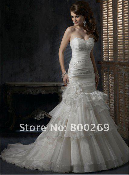 SL-6006 Amazing Sweetheart Mermaid Organza Bridal Gowns
