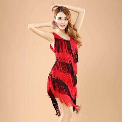 819440e9c5b20 Mode femmes gland robe de danse latine gland vêtements pour dame danse Cha  Cha   Rumba   Samba   Tango   salle de bal de danse jupe 2 couleur