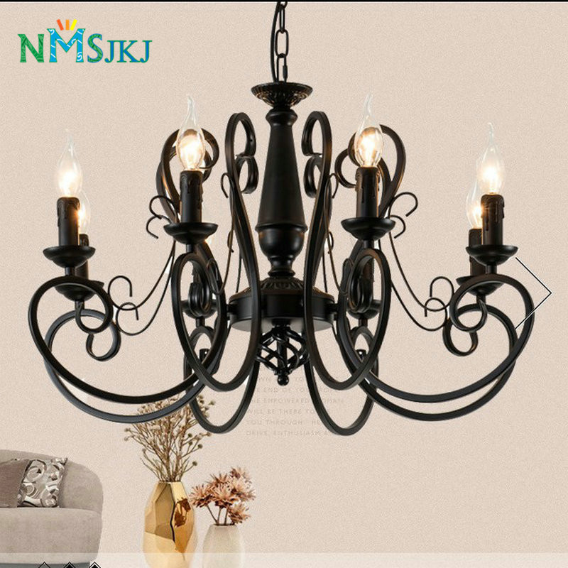 Vintage Country LED Iron Chandeliers Creative American Europe Candle lamps for Living room Bar Cafe Restaurant Bedroom pendant lights american country iron cloth square lamps vintage lighting for living room restaurant bedroom cafe meeting room