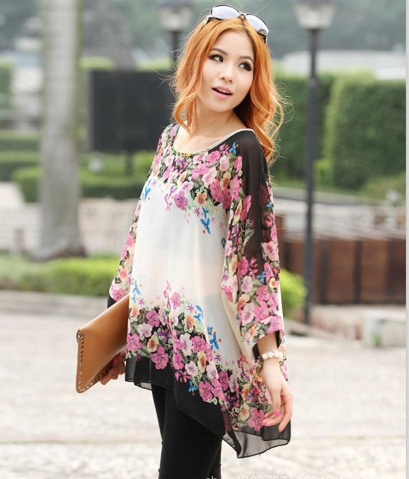 65891576 Low price sale women plus size blouses flower printed summer blusas Vogue  ladies designer sheer shirts girls tops free shipping-in Blouses & Shirts  from ...
