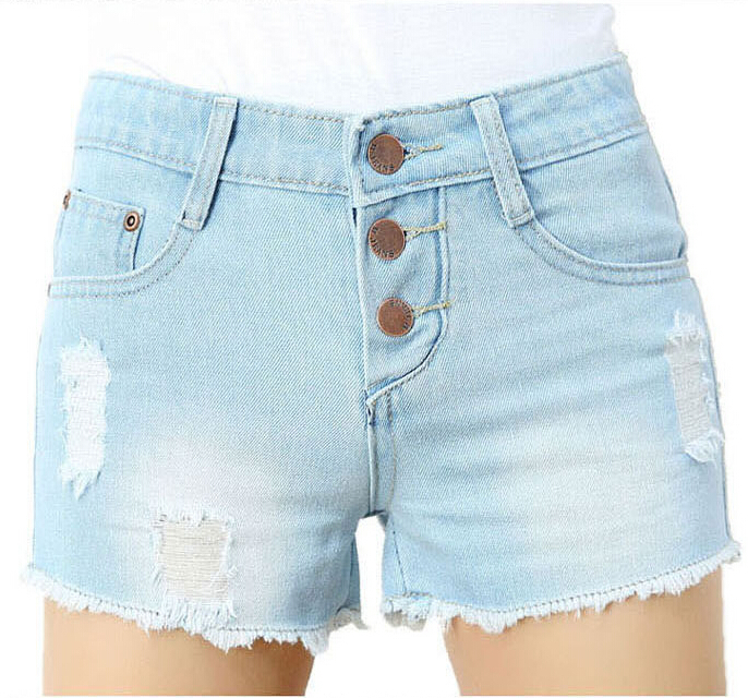 New denim shorts female summer thin jeans shorts hole single breasted woman light blue women lager size fit waist Vintage jeans