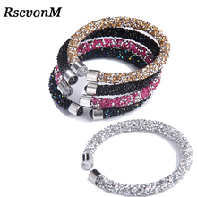 RscvonM Exquisite Crystal Cuff Bracelet Brand Open Bangles Pulseira Feminina For Women Bijoux New Fashion Jewelry Gift Bangles cheap All Compatible Tension Mount Round C1294-C1298 Resin Titanium Plated Trendy Zinc Alloy None