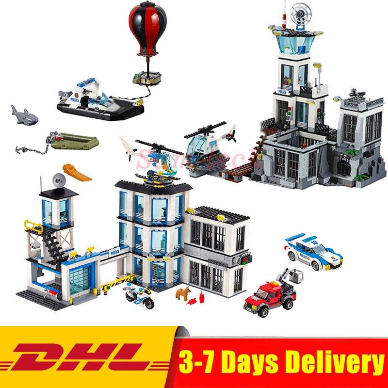 Clone 60130 60141 Lepin City Series 02006 Police Prison Island+ 02020 Police Station Building Blocks Bricks Model Toys цена
