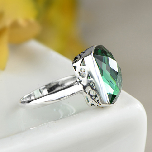 GQTORCH Natural Green Crystal Square Emerald Rings For Women 925 Sterling Silver Jewelry Vintage Flower Carving Accesorios Mujer