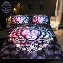 Leo by Brizbazaar Bedding Set Crowned Lion Duvet Cover Gemstone Bed Set 3-Piece Pink Purple Blue Animal Hair Bedclothes(China)