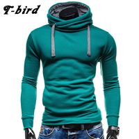 T Bird Hoodies Men Moleton Masculino Mens Brand Solid Color Turtleneck Pullover Hoodie Sweatshirt Slim Fit