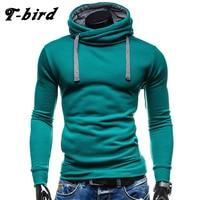 T Bird Hoodies Men Moleton Masculino Mens Brand Solid Color Turtleneck Pullover Hoodie Sweatshirt Slim Fit