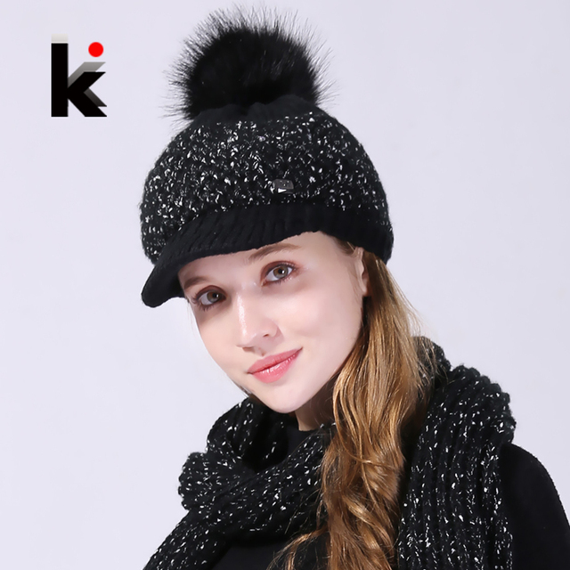 Women S Winter Hat And Scarf Sets Warm Thick Knitted Wool Baseball