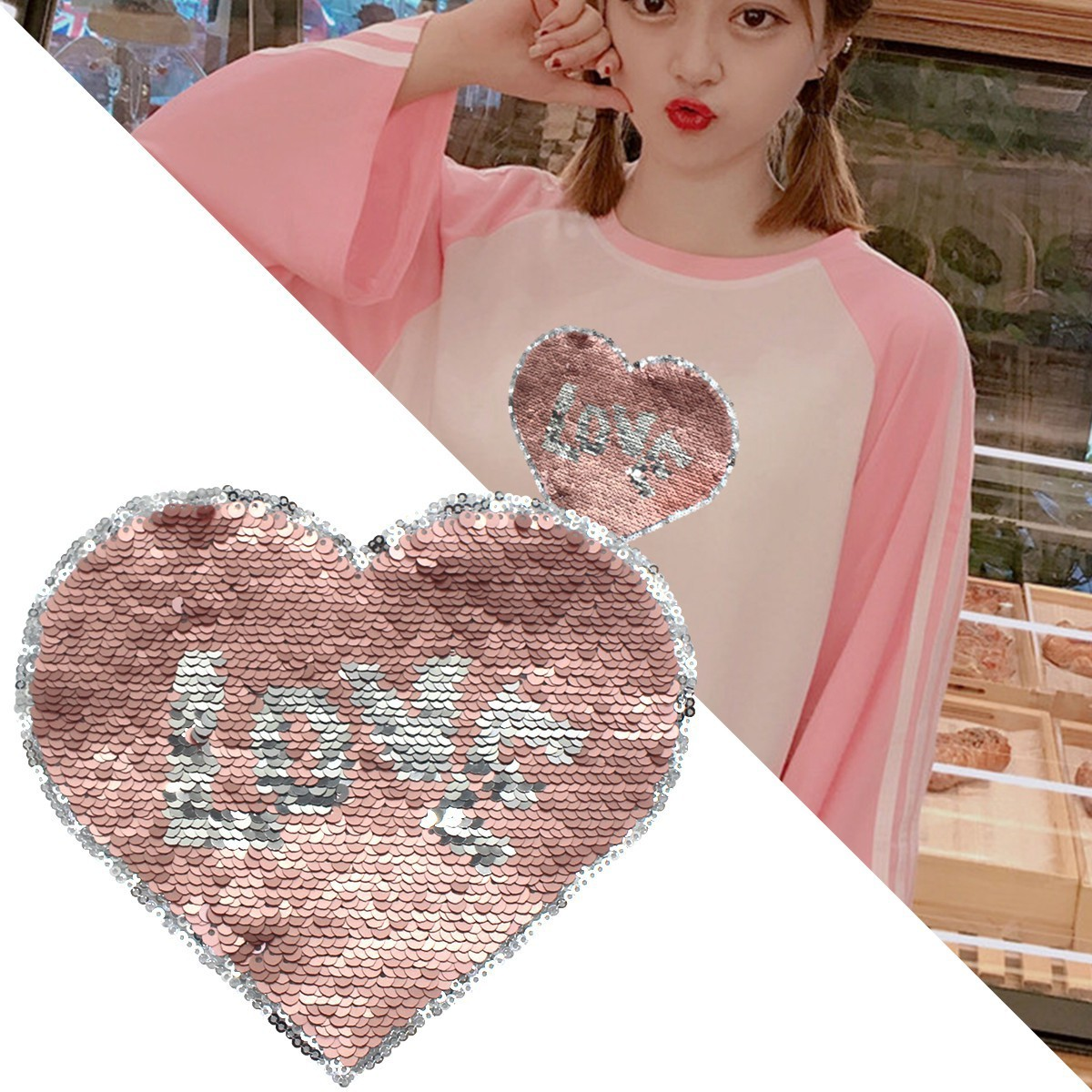 Love Hearted Reversible Sequined Sew On Patches for clothes DIY Coat Embroidered Paillette emoji Patch Applique