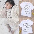 Niños bebés niños niñas Tops nubes de verano Casual blanco Top camisetas manga corta Playsuit ropa trajes 2016 verano