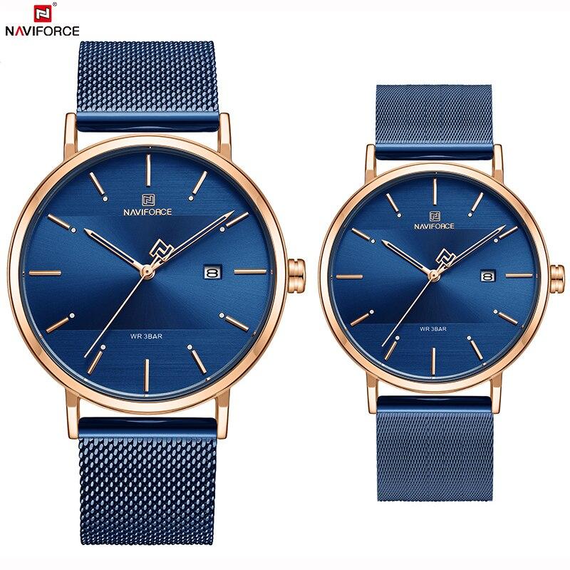 Naviforce top marca de luxo dos homens relógios quartzo mulher aço à prova dwaterproof água casual data casal relógio masculino pulso relogio masculino