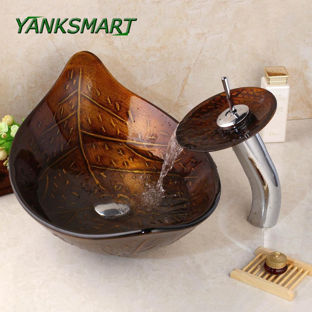 YANKSMART Brown Leaf Tempered Glass Basin Sink Washbasin Faucet Set Counter top Washroom Vessel Vanity Sink