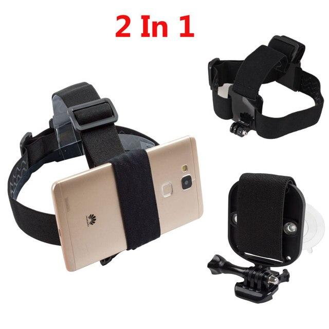2 in1ユニバーサル電話のストラップヘッドストラップマウント強力な吸引カップ + 胸stapマウント移動プロsjcam xiaoyiアクションカメラ