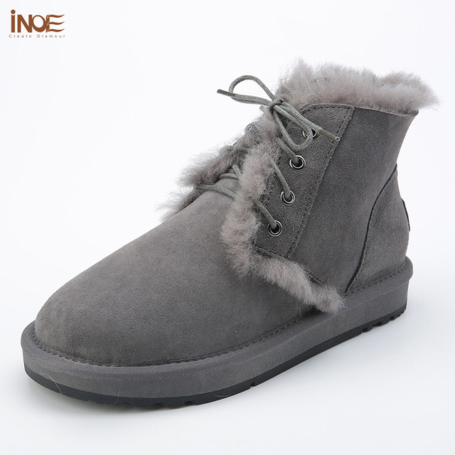 INOE Fur Lined Boots Women Grey Sheepskin Leather Suede Ankel Boots Woman  Wool Lace Up Womens Winter Shoes Ankle Booties Size 9 bab33e5b6