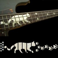 Fretboard Markers Inlay Sticker Decals For BASS Guitar Cats Foot Print, White and Black