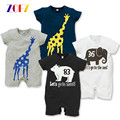 ZOFZ Baby girls clothing Rompers Giraffe Cartoon Summer Short Sleeve Romper Baby Boy Clothing Summer Grey Black Jumpsuits