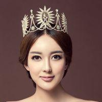2017 New Fantastic Large Pageant Tiaras Handmade Brides Crowns Clear Rhinestone Headband Bridal Wedding Prom Party