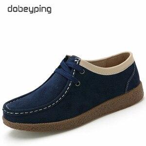 Image 3 - Dobeyping zapatos de primavera Otoño de piel de vaca para mujer, mocasines con cordones, zapatillas planas, 2018