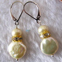 AA 5 13MM Champagne Freshwater Pearl Clip On Dangle Earrings Fashion Lady S Wedding Party Gift