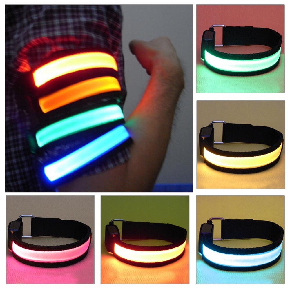 Reflective LED Light Arm Armband Strap Safety Belt For Outdoor Night Running Reflective LED Safety Warning Armband Strap reflective led slap wrap glowing bracelet for running and ridding at night necessary for night safety free shipping