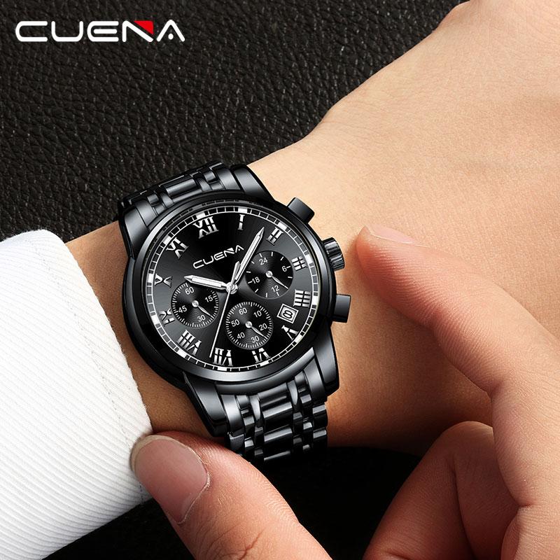 CUENA Male Watches Quartz Watch Luminous Hands 3Atm Waterproof Fashion Business Men Watch Stainless Steel Functional Watch Gift