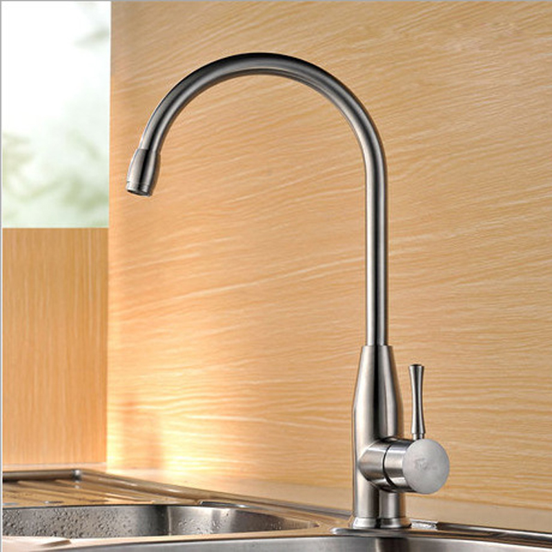 Kitchen Faucet Cold And Hot Water Mixer Tap Single Handle 360 Rotation Brushed Water Faucets SS304 Sink Taps Deck Mounted free shipping sus 304 stainless steel faucet modern kitchen sink faucets brushed basin mixer hot and cold kf350