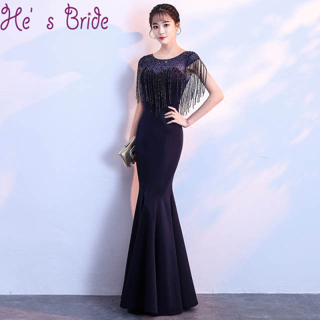 607e5f3ffb5e placeholder Robe De Soiree Mermaid Black Elegant Evening Dress Bride Banquet  Floor Length Party Prom Dresses with