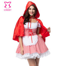 Adult White/Red Plaid Lace-Up Fancy Dress Cosplay Little Red Riding Hood Costume Sexy Halloween Costumes For Women Plus Size 6XL xb17 2018 sexy christmas costume red white wetlook faux leather exotic dress cosplay halloween uniform with white fur red hat