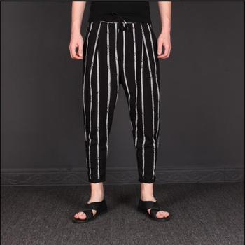 M-3xl 2020 New Summer Men's Cotton Linen Striped Pants Personality Hair Stylist's Nine Points Casual Feet Pants Tide Harem Pants