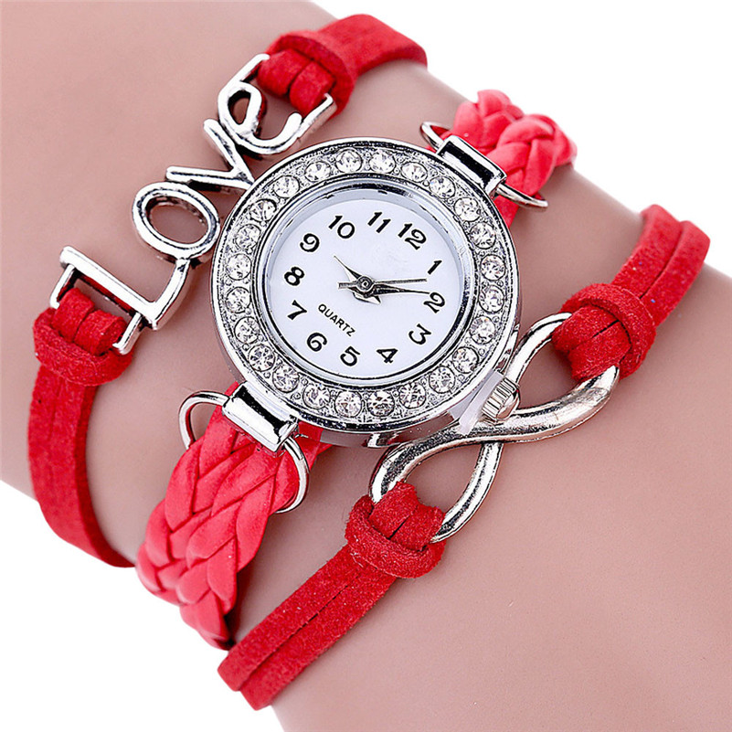 Women Watches Fashion Infinity Love Hand-knitted Leather Chain Quartz Wristwatch Bracelet Luxury Casual Clock Ladies Gifts#c