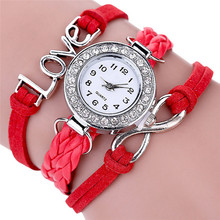 Women Watches Fashion Infinity Love Hand-knitted Leather Chain Quartz Wristwatch