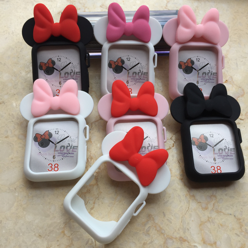 Cover for Apple Watch Series 3 2 1 38mm 42mm Case Protector Soft Silicon Full Case for iWatch Accessories cute Mickey Mouse Ears series 1 2 3 soft silicone case for apple watch cover 38mm 42mm fashion plated tpu protective cover for iwatch