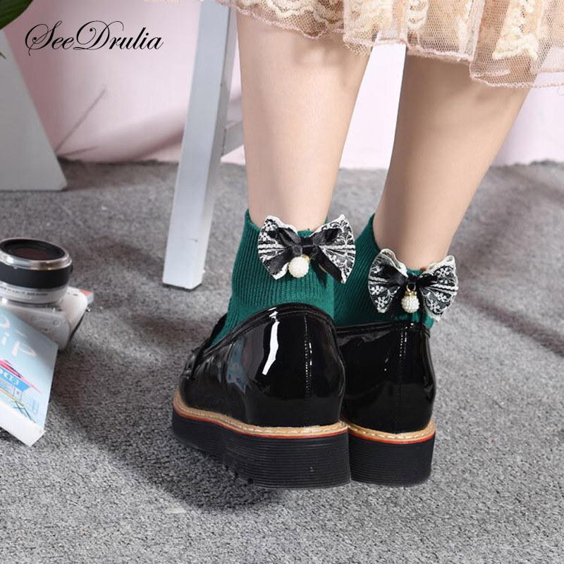 SEEDRULIA 2018 Chic Women's Soft 100% Cotton Bow Knot Lovely Socks  Ladies Girl's Lolita Style Bow