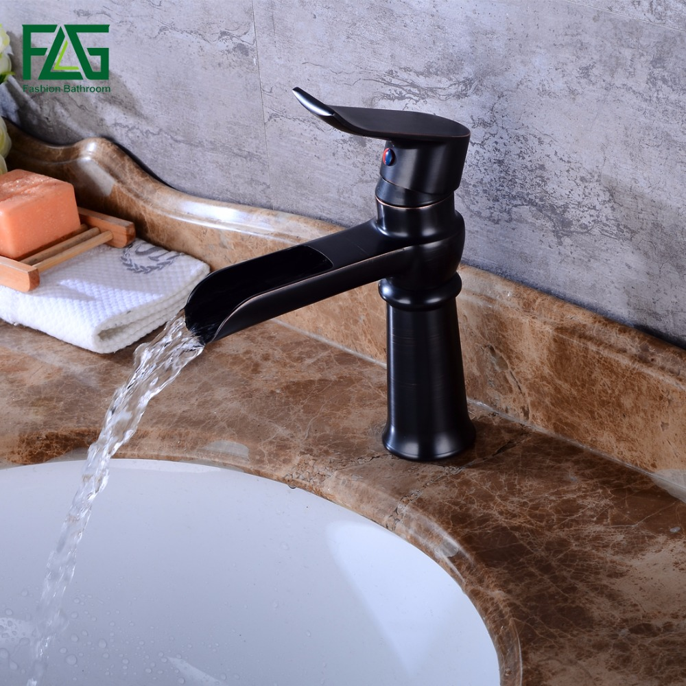 Basin Faucet Solid Brass Oil Rubbed Bronze Waterfall Bathroom Sink