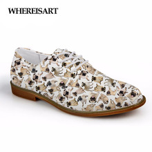 WHEREISART Cute Pet Pug Dog Pattern Mens Fashion Oxfords Shoes High Quality Synthetic for Women Leather Man