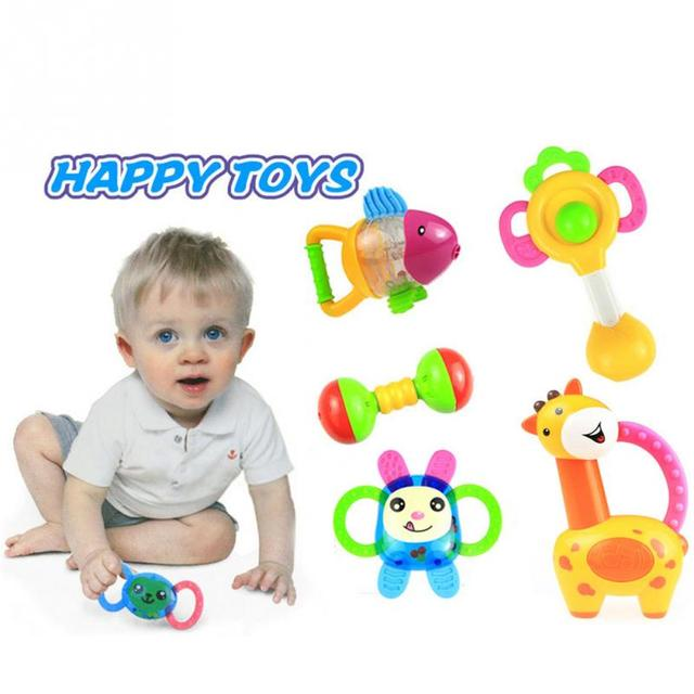 3/5 Pieces lot baby rattles baby toys 0-1year old newborn bite baby