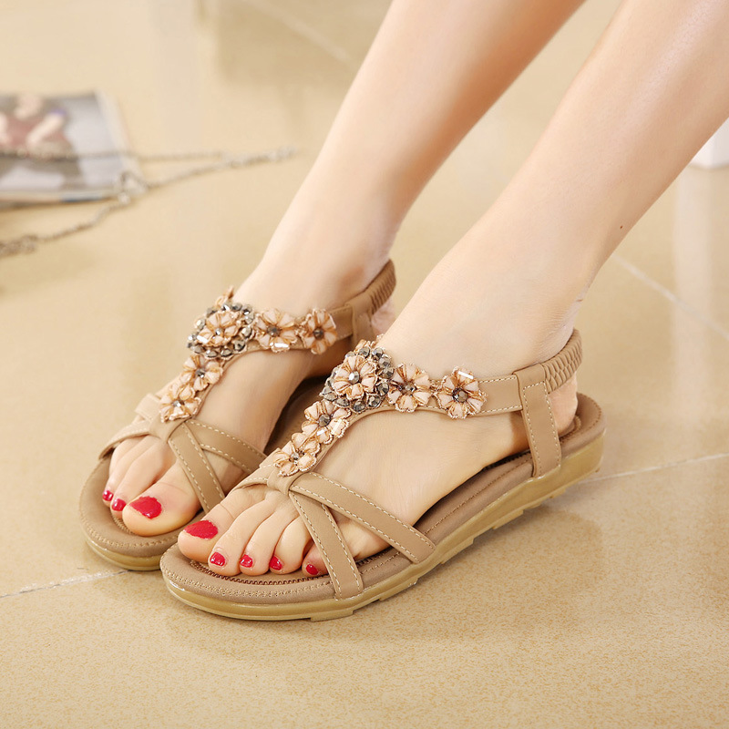 LAKESHI Women Sandals Flower Shoes Woman Flip Flops Fashion Summer Flat  Sandals Bohemian Ladies Sandals 2018 ... f9f560058039