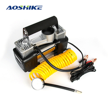 AOSHIKE 12V 150W 24A Car Pump Air Compressor Dual Cylinder Metal Auto Car Tire Inflator For Car Tire With Cigarette Lighter