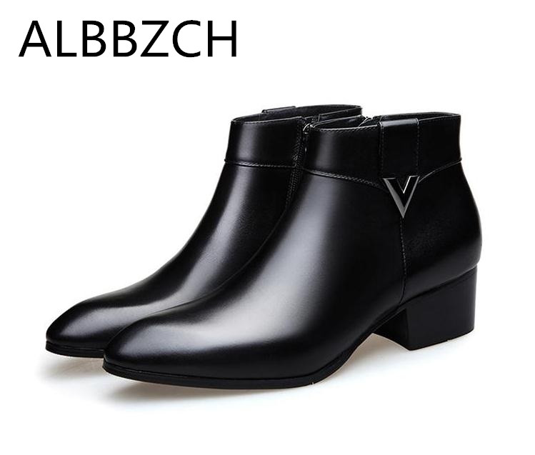 Autumn <font><b>winter</b></font> new <font><b>mens</b></font> cow leather ankle boots high heels wedding dress <font><b>shoes</b></font> <font><b>men</b></font> high quality business office work boots botas image