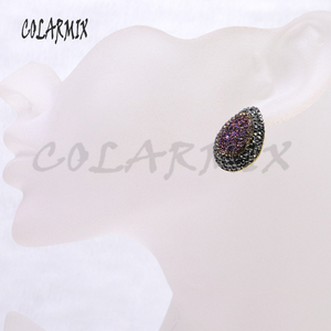 Image 5 - 10 זוגות druzy עגילי טיפת אבן עגילי לערבב צבעים חיקוי druzy סיטונאי תכשיטי אבני חן תכשיטי עבור נשים 7021