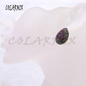 Image 5 - Boucles doreilles druzes pour femmes, 10 paires, boucles doreilles à clous en pierre, mélange de couleurs, imitation druzes, vente en gros de bijoux, tendance 7021