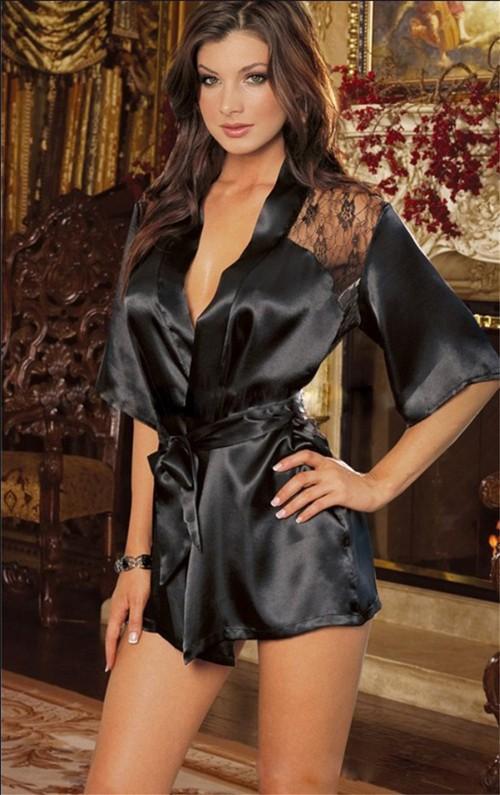 мода черный атлас черный женское белье костюм Seal pam w1221