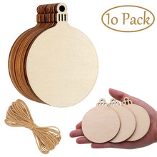 10 Pcs Wooden Round Baubles With M Hemp Ropes Hanging Decorations Tag Shapes Acrylic Paints WaterBrush Pigment