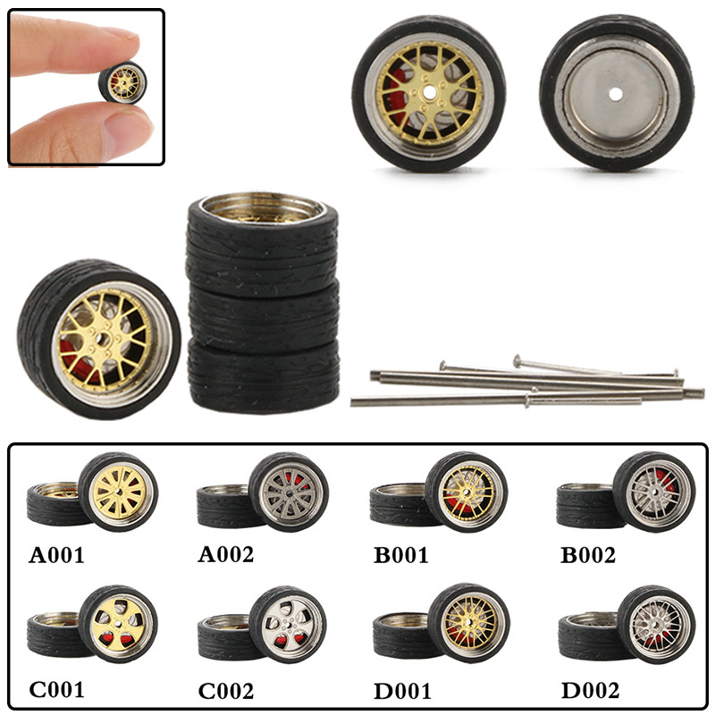 4pcs / Set 1:64 Car Wheels Modified Vehicle Accessories Refit Rubber Tire For Toy Cars Model Collection Adults Toys